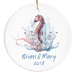 Watercolor Seahorse Personalized Ornament