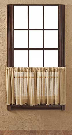 Tobacco Cloth Khaki Cafe Curtains - 24 inch Tiers