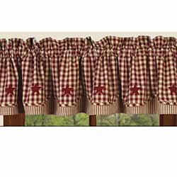 Heritage House Check Red Fairfield Valance with Star