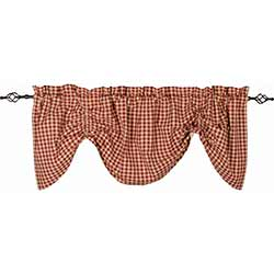Heritage House Check Red Gathered Valance