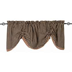 Heritage House Check Black Gathered Valance with Lace
