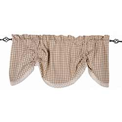 Heritage House Check Cream Gathered Valance with Lace
