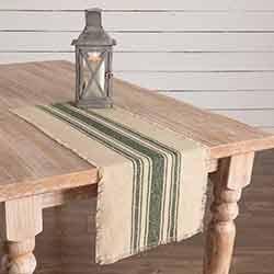 Vintage Burlap Stripe Green 36 inch Table Runner