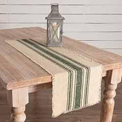 Vintage Burlap Stripe Green 48 inch Table Runner