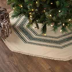 Vintage Burlap Stripe Green 55 inch Tree Skirt