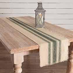 Vintage Burlap Stripe Green 72 inch Table Runner