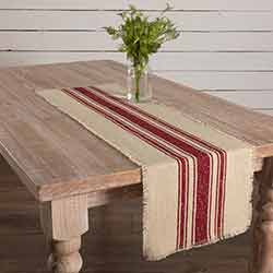 Vintage Burlap Stripe Red 48 inch Table Runner
