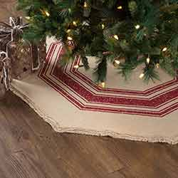 Vintage Burlap Stripe Red 48 inch Tree Skirt