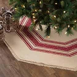 Vintage Burlap Stripe Red 55 inch Tree Skirt
