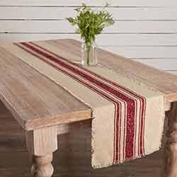 Vintage Burlap Stripe Red 72 inch Table Runner