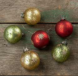 Mercury Glass Ball Ornaments (Set of 6)