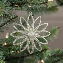 Silver Glitter Double Snowflake Ornament