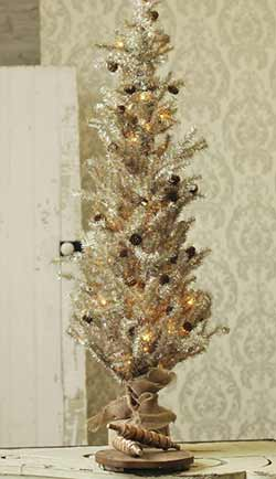 Pre-Lit Tinsel Tree with Pine Cones - 48 inch