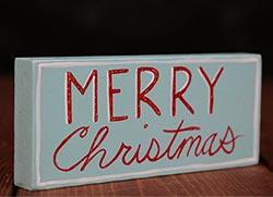 Merry Christmas Shelf Sitter - Red and Aqua