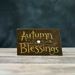 Autumn Blessing Sign with Pumpkin Vine