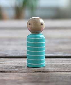 Aqua Striped Peg Doll Baby (or Ornament)