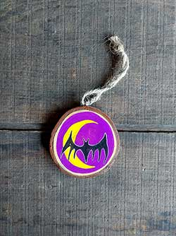Bat and Crescent Moon Wood Slice Ornament (Personalized)