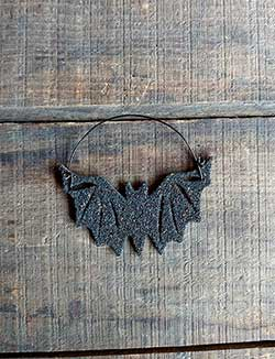 Black Bat Vintage Glitter Ornament