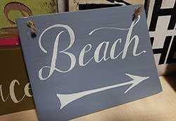 Beach with Arrow Sign - Blue