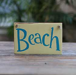 Beach Small Wood Sign (Yellow & Blue)