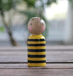 Bumblebee Peg Doll (or Ornament)