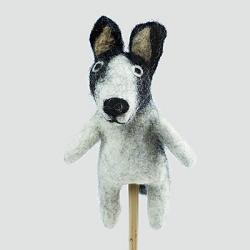 Black & White Dog Finger Puppet