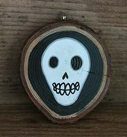 Skull Wood Slice Ornament