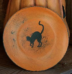 Orange Distressed Mini Plate with Black Cat