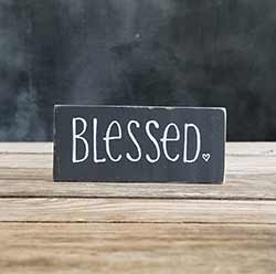 Blessed Shelf Sitter Sign with Heart