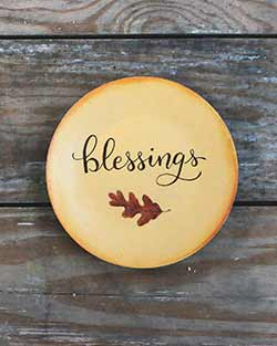 Blessings Hand Painted Plate with Leaf
