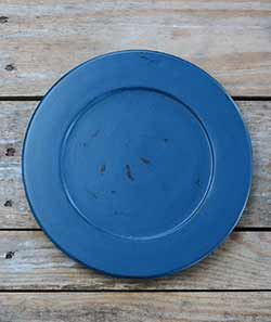 Distressed 9.5 inch Candle Plate - Nautical Blue