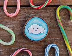 Cloud on Blue Wood Slice Ornament (Personalized)