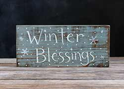 Winter Blessings Sign with Snowflakes