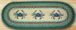 Blue Crab Oval Patch Runner - 48 inch