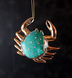 Turquoise Jeweled Crab Ornament