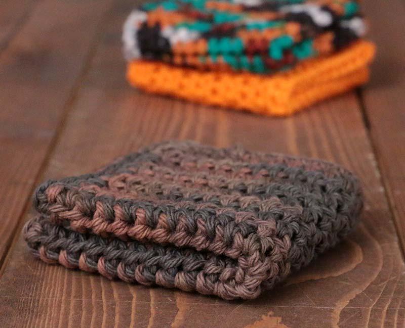 Woodland Browns Crochet Dish Cloth