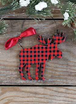 Buffalo Check Moose Personalized Ornament