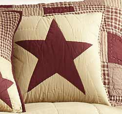 Burgundy & Tan Quilted Star Pillow Cover