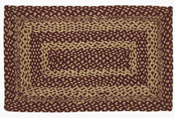 Burgundy and Tan Jute Rug - Rectangle (27 x 48 inch)