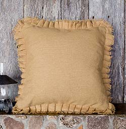 Deluxe Burlap Natural Tan Pillow Cover - 16 inch
