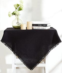 Burlap Black Tabletopper - 40 x 40