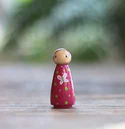 Pink Butterfly Girl Peg Doll (or Ornament)
