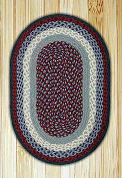 Blue and Burgundy Oval Jute Rug - 20 x 30 inch