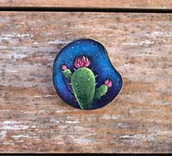 Cactus Galaxy Wood Slice Ornament 2