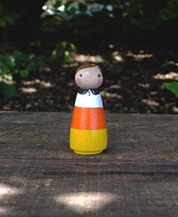 Halloween Candy Corn Peg Doll Girl