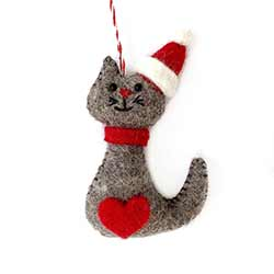 Cat Wool Ornament with Heart