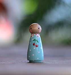 Cherry Girl Peg Doll (or Ornament)