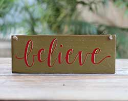 Believe Wood Sign (Olive Green)