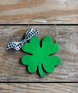 Shamrock Personalized Ornament - Black Checkered Ribbon