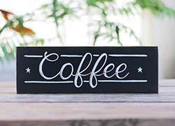 Retro Coffee Hand Lettered Wood Sign